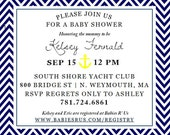Nautical Baby Shower Invitations: Navy and Yellow, Digital File, Printable