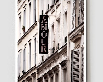 """SALE! Paris Photography, """"Amour"""" Paris Print Extra Large Wall Art Prints, Girlfriend Gift for Her"""