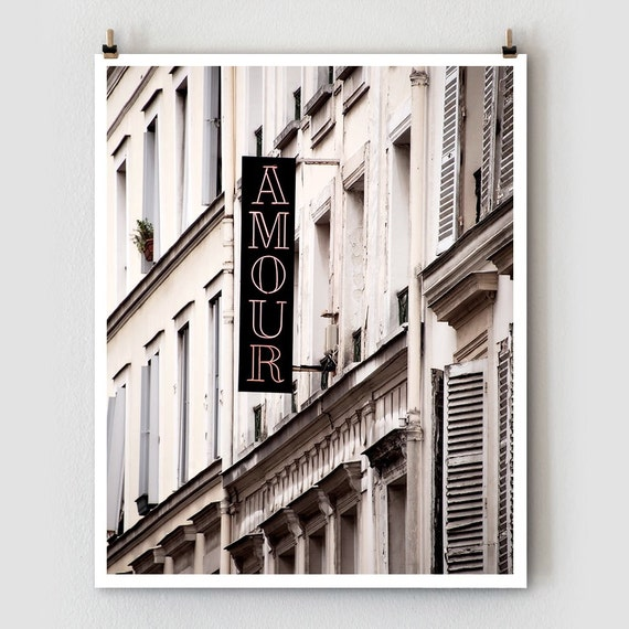 "Paris Photography, ""Amour"" Paris Print Extra Large Wall Art Prints, Girlfriend Gift for Her, Romantic Gift for Wife"
