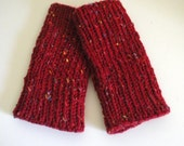 Red Fingerless Gloves / Long Red Gloves / Hand Knit Wool Gloves / Warm Soft Knitted Gloves / Knit Winter Gloves