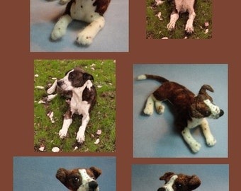 Custom Dog Memorial portrait soft sculpture needle felted from your pet photographs