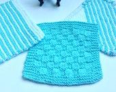 Knitted Washcloths - Pale Aqua - Set of 3