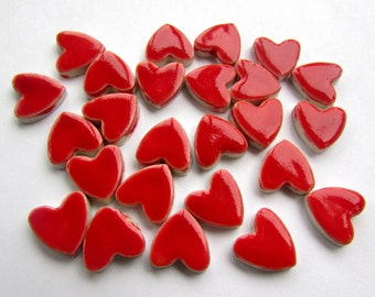 25 handmade red valentines heart shapes tiles great for mosaics or cards.