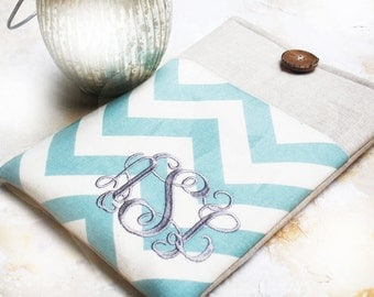 Monogrammed Personalized Ipad Sleeve|Tablet Cases|ipad pro sleeve|Made to FIT ANY BRAND tablet in Blue Chevron and Linen