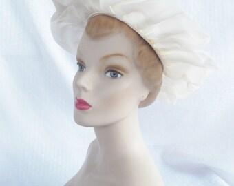 Clearance 1960's Vintage Off White Floppy Brim Nylon Hat
