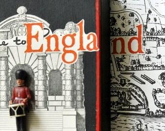 England artwork. Drummer Boy Buckingham Palace Guard. 3D artwork. Mixed Media Collage. Map art. Retro. Home Decor. Wall Art. Great Britain
