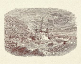 Nautical Print - Tall Ship In a Storm Engraving - Vintage Boat Print - Sepia Ship Book Print - Go Down To The Sea - London News 1868 - 1970s