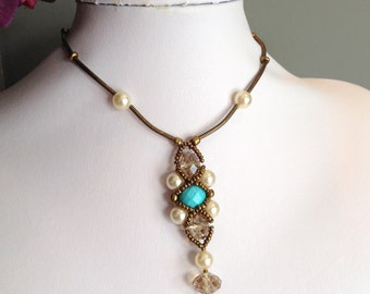 Hugs and Kisses Turquoise and  Pearl  Antique Brass Necklace Set (Free Shipping to Canada & USA)