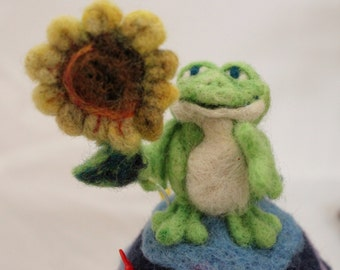 Frog Needle Felted Frog with Sunflower Pin Cushion ooak #490