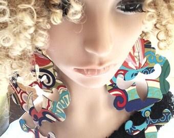 Attactive Long Dangling Multiple Colors Fabric Earrings, Ladies, Womens Earrings, Big Earrings, Fashion Earrings
