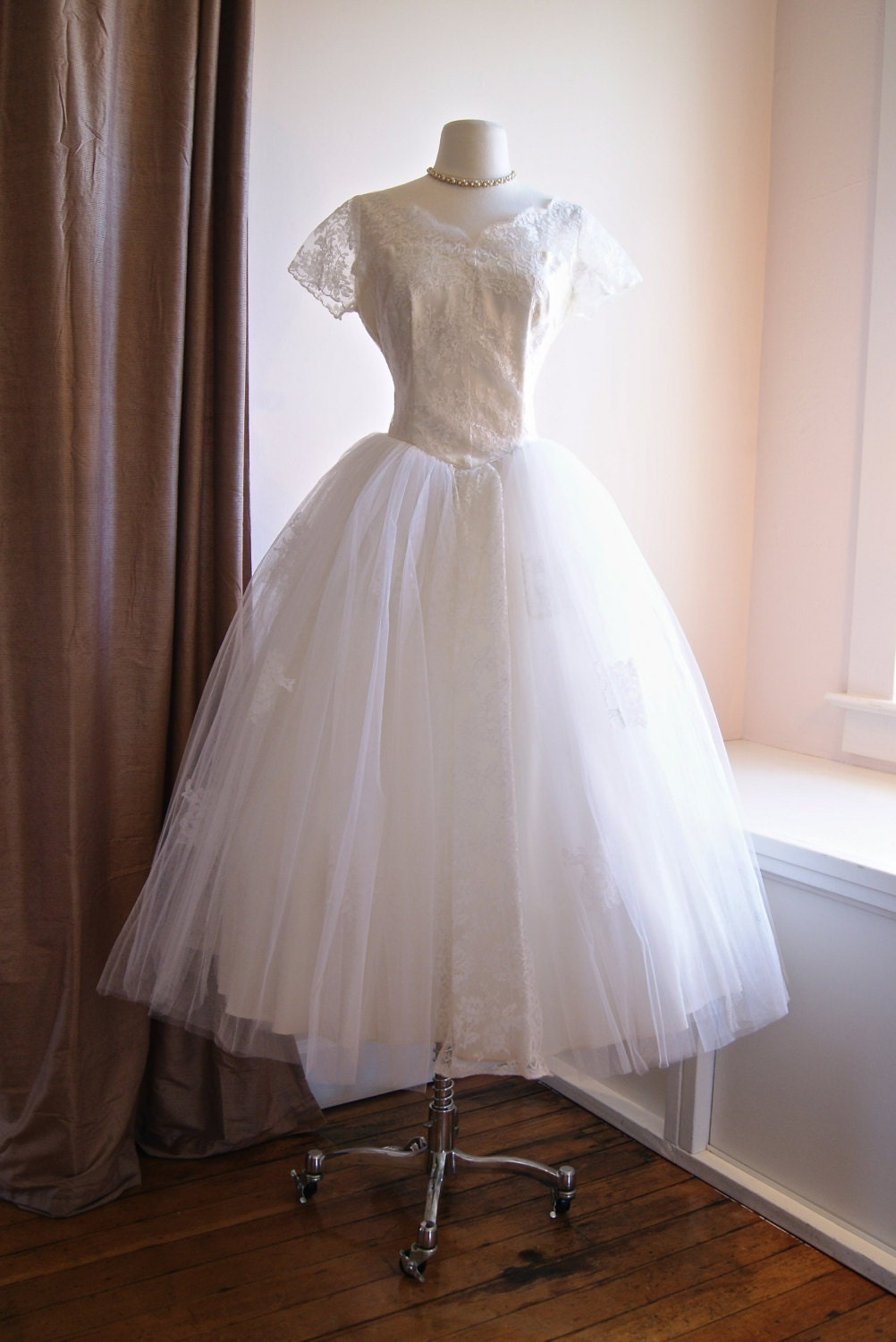 Reserved vintage 50s wedding dress 1950s tea length wedding for 1950 wedding dresses tea length