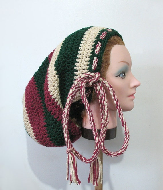Crocheting Dreads : Crochet Large Tam Hat for Long Dreads Forrest Green Beige Maroon Rasta ...