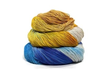 300 Yards Hand Dyed Cotton Crochet Thread Size 10 3 Ply Gray Ecru Mustard Yellow Periwinkle Light Blue Fine Cotton Yarn