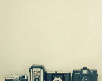 Still Life Photography, Camera Art, Gift for Photographer, Minimal, Retro Wall Art, Black, Silver, Home Office Decor - Camera Collection