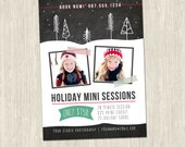 Holiday Trees Chalkboard Mini Sessions Photography Marketing Card Template | 5x7 | 1 PSD Photoshop Template for Photographers | MM6004
