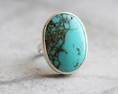 Turquoise ring - Artisan ring - Gemstone ring - Bezel set ring - Sterling silver ring  - Gift for her