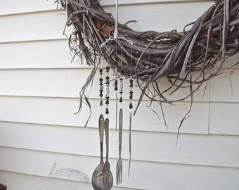 """WINDCHIMES """"I Love DOGS"""" Wind Chimes -REcycLed,REpurposed from anTiQue SILVERWARE w/ SiLver Bones+brown,black gLass Beads+7 Paw Print beads"""