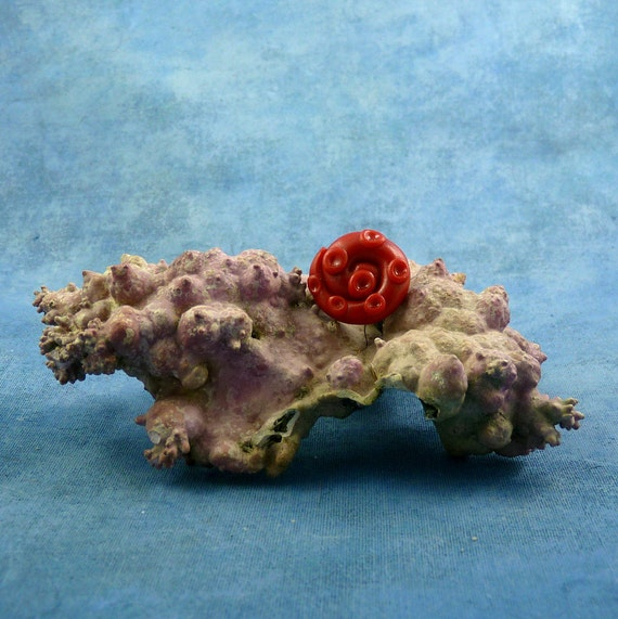Burgundy Tentacle Pin - Polymer Clay Sea Life Jewelry