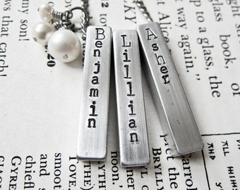 Hand Stamped Jewelry Three Aluminum Bar & Pearl Necklace Keychain Custom Made for Moms or Dads - Personalized with Name on Chunky Metal Bar