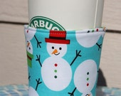 50% OFF - STORE CLOSING - Fabric Coffee cozy/sleeve - Tossed Snowman - Stocking Stuffer - Christmas Gift