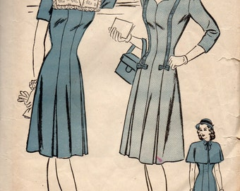 1940s Advance 3884 Misses DRESS and CAPE Pattern Sweetheart Neck Womens Vintage Sewing Pattern  Size 12 Bust 30
