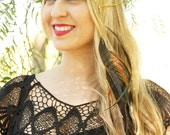 CHAIN HEADPIECE- boho chic head chain headdress feather headpiece with crystals
