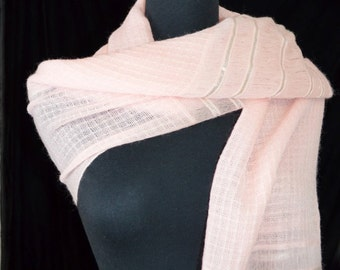 50s 60s Baar & Beards Inc. Fringe Stole. Fringe Tassels Wrap Scarf. Pink Wool and Silver. Stripes. Long and Large.