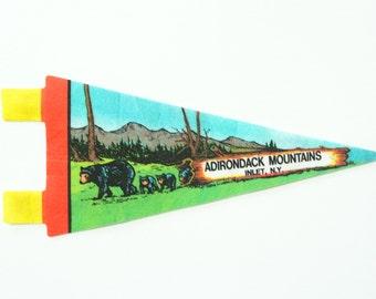 vintage 60s Adirondack Mountains New York felt souvenir pennant / travel pennant / banner / small gift