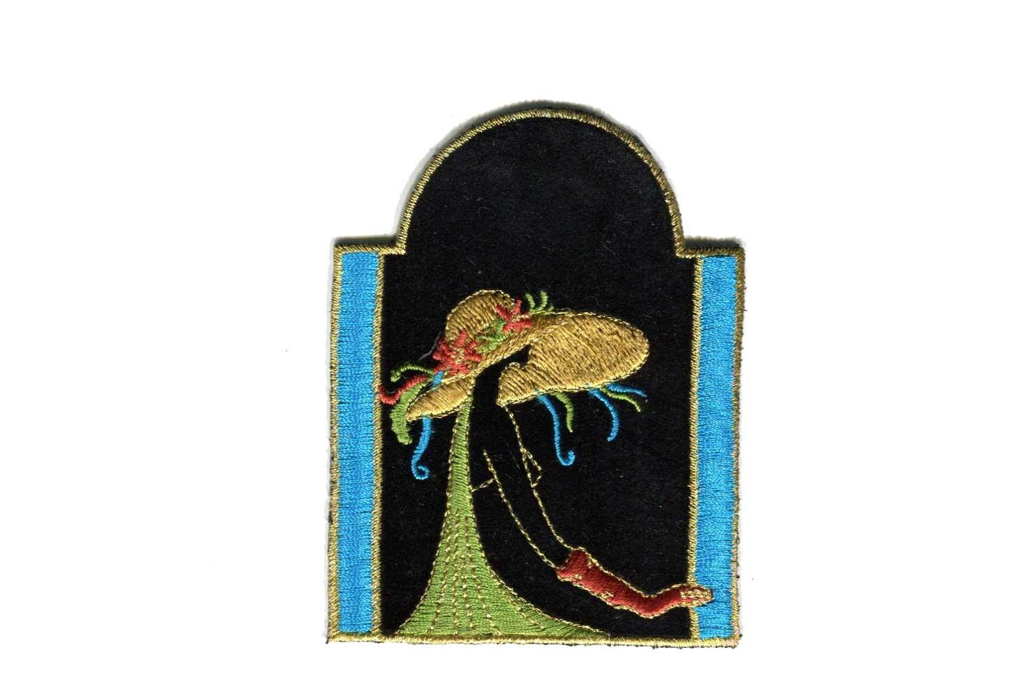 vintage black velvet art deco lady patch applique embroidered. Black Bedroom Furniture Sets. Home Design Ideas