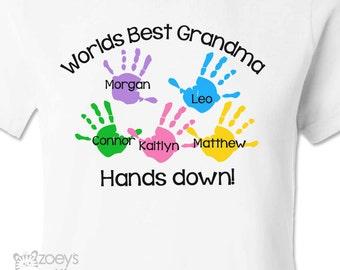 Grandma shirt - worlds best grandma (or nana or anything) hands down Tshirt personalized with grandkids names