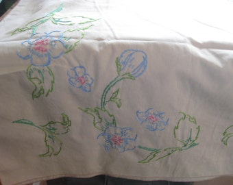 "Hand-Embroidered Tablecloth Vintage 104"" X 57"""