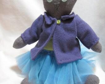 Grey Kitty Ballerina Doll- OOAK