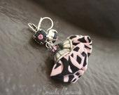Pom-Pom black & light pink -022- dangle earring, fabric, polymer clay, bead, hippy, ethnic chic