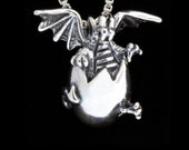 Hatching Dragon Pendant - Game of Thrones Inspired Dragon Egg Charm - Large Dragon Hatchling - Dragon Egg - Dragon Miniature - Silver Dragon