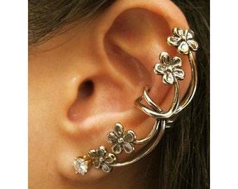 Flower Ear Cuff Ear Wrap Flower Earring  Ear Wrap Forget Me Not Ear Cuff Jewelry Belle Vine Ear Wrap Non-Pierced Earring Fashion Ear Cuff