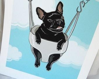 Swinging French Bulldog in Black - 7x9 Eco-friendly Print