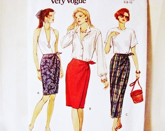 Vogue Mock Wrap Skirt Pattern in three lengths Misses size 6 8 10 Easy to Sew