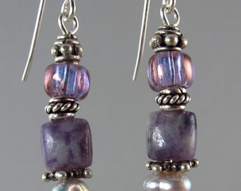 FREE SHIP purple passion earrings featuring Russian charoite