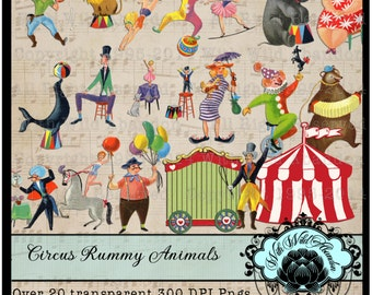 Circus Clipart and Digital Collage Sheets, Vintage Rummy Circus Art Images, or Illustrations, Clown, Lion, Dancing Bears, Birthday Invite