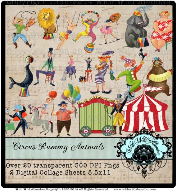 Circo Clipart e fogli collage digitale Vintage Ramino Circus