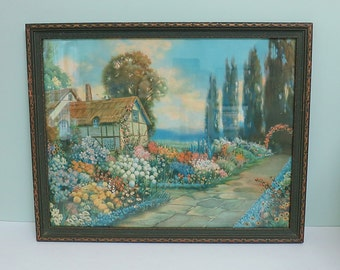 R. Atkinson Fox Cottage Print, Original Vintage Frame, Cotswold Thatched Roof Tudor House and Colorful English Garden