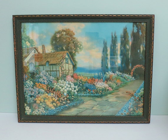 R Atkinson Fox Cottage Print Original Vintage Frame