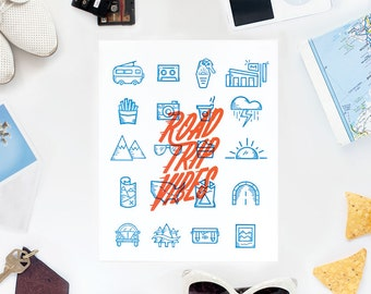 Road Trip Vibes Letterpress print