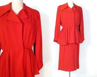 Vintage 1940s Suit / Tomato Red Gabardine Suit / 40s Suit / Skirt Suit / XS
