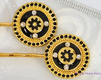Bobby Pin Black Gold Hair Pin Elegant Hair Clip Handmade Hair Accessory