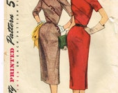 Original 1950's Unusual Dress Pattern with Diagonal Pieced Bodice Size 14 Bust 32 Simplicity 1240