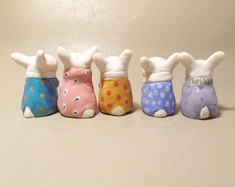 Collectible Bunnies Ceramic Thumb Bunny Miniature Porcelain Tiny Rabbit Figure Figurine