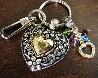 Our Family Is Blessed With Your Heart Of Gold - Custom Made Birthstone Keychain For Mom, Grandma, Nana or Aunt