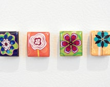 modern wildflowers cubicle decor - vibrantly colored office accessory - scrabble tile magnet or thumb tack set - up cycled home decor