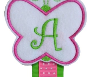 Personalized Embroidered Monogrammed Felt Butterfly Wall Hanging HAIR BOW HOLDER - You Choose Initial